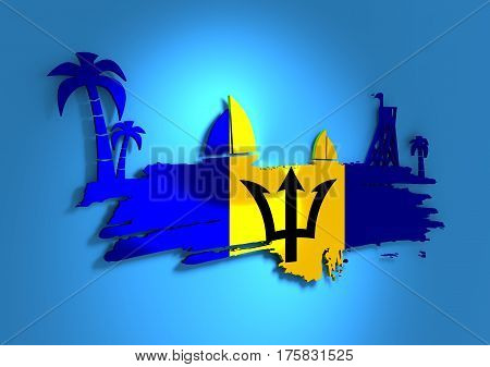 Vintage seaside view poster. Palm and safeguard tower on the beach. Yacht in the ocean. Silhouettes on grunge brush stroke. 3D rendering. Metallic glossy material. Barbados flag