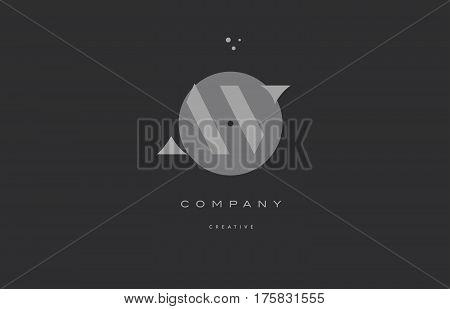 Av A V  Grey Modern Alphabet Company Letter Logo Icon