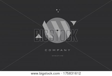 Aw A W  Grey Modern Alphabet Company Letter Logo Icon
