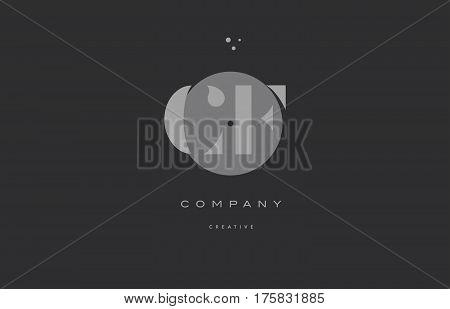 Cf C F  Grey Modern Alphabet Company Letter Logo Icon