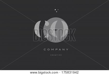 Co C O  Grey Modern Alphabet Company Letter Logo Icon