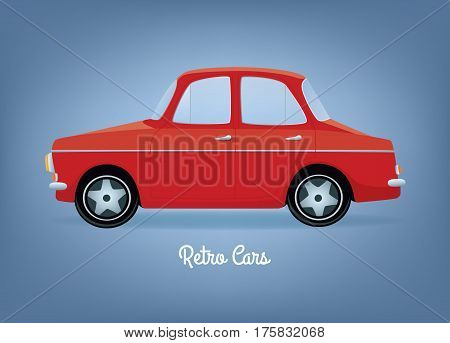 Vector illustration of a red cartoon retro car. Side view. Horizontal format. Gray background.