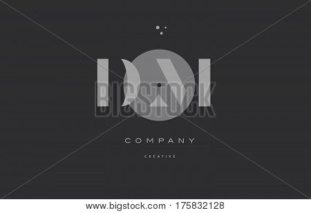 Dm D M  Grey Modern Alphabet Company Letter Logo Icon