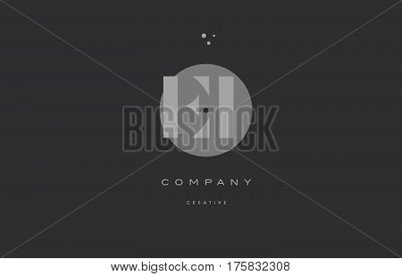 Ei E I  Grey Modern Alphabet Company Letter Logo Icon