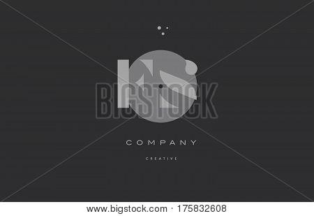 Fs F S  Grey Modern Alphabet Company Letter Logo Icon