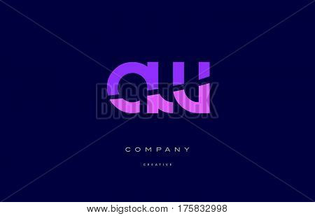 Aw A W  Pink Blue Alphabet Letter Logo Icon