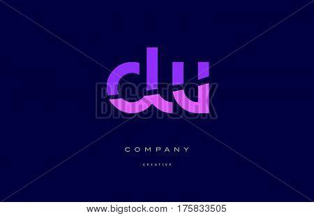Dw D W  Pink Blue Alphabet Letter Logo Icon