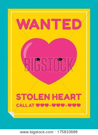 Vector cartoon illustration of a poster with a portrait of a smiling heart character and text