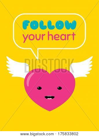 Vector cartoon illustration of a flying heart character with bird wings saying: