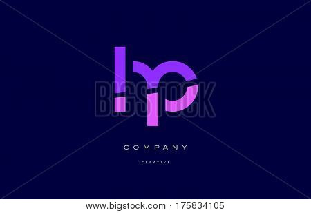 Hp H P  Pink Blue Alphabet Letter Logo Icon