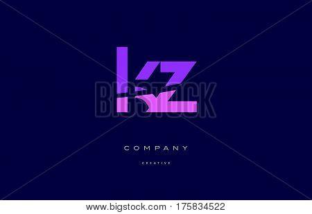 Kz K Z  Pink Blue Alphabet Letter Logo Icon