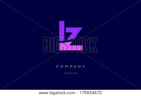 Lz L Z  Pink Blue Alphabet Letter Logo Icon