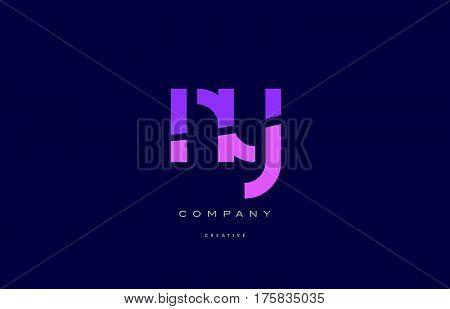 Ny N Y  Pink Blue Alphabet Letter Logo Icon