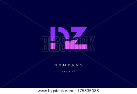 Nz N Z  Pink Blue Alphabet Letter Logo Icon