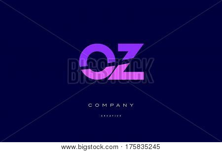 Oz O Z  Pink Blue Alphabet Letter Logo Icon