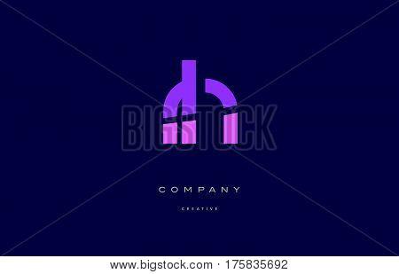 Rh R H  Pink Blue Alphabet Letter Logo Icon