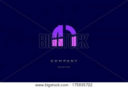 Rn R N  Pink Blue Alphabet Letter Logo Icon