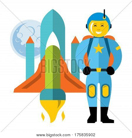 Spaceman near spaceship on the background of moon. Isolated on a white background