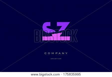 Sz S Z  Pink Blue Alphabet Letter Logo Icon