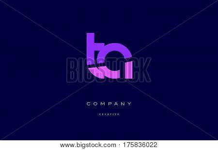 Ta T A  Pink Blue Alphabet Letter Logo Icon