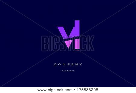 Vl V L  Pink Blue Alphabet Letter Logo Icon