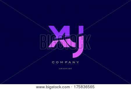 Xy X Y  Pink Blue Alphabet Letter Logo Icon