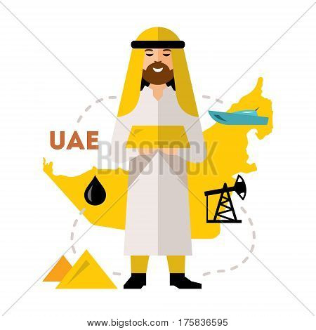 Saudi holds a gold bar in his hands, against the backdrop of the oil-bearing cards. Isolated on a white background