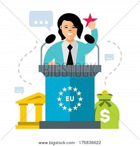 Orator speaking from tribune. Isolated on a white background