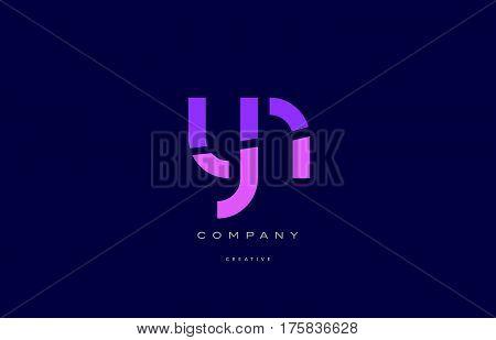 Yn Y N  Pink Blue Alphabet Letter Logo Icon