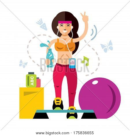 Woman exercising workout aerobic exercise. Isolated on a white background