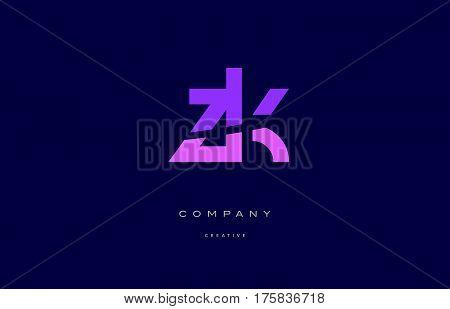 Zk Z K  Pink Blue Alphabet Letter Logo Icon