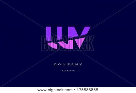 Wv W V  Pink Blue Alphabet Letter Logo Icon