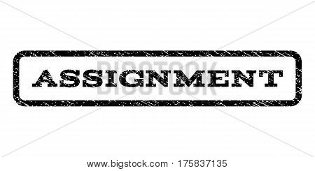 Assignment watermark stamp. Text caption inside rounded rectangle frame with grunge design style. Rubber seal stamp with dust texture. Vector black ink imprint on a white background.