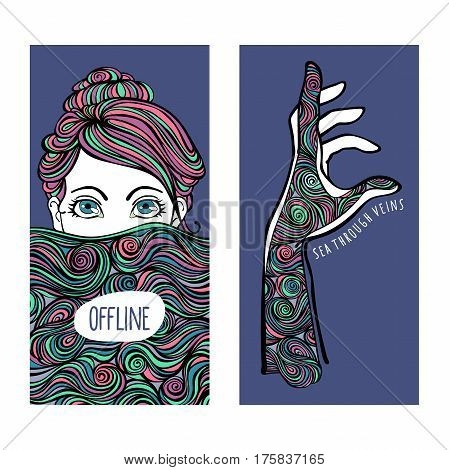 Offline. Girl and waves. Hand and waves. Isolated vector objects on white background.