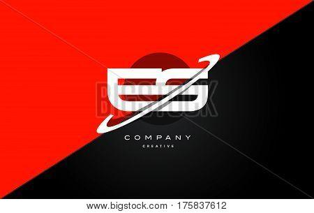 Es E S  Red Black Technology Alphabet Company Letter Logo Icon