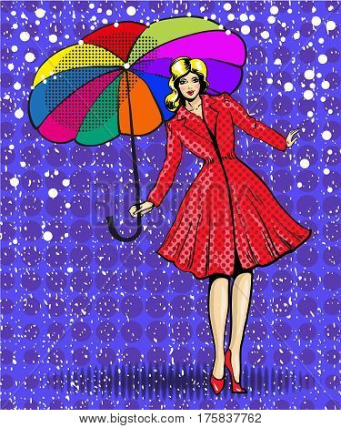 Vector illustration of pretty young woman with umbrella. Elegant girl wearing red coat and red shoes in retro pop art comic style.