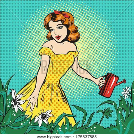 Vector pop art illustration of beautiful girl watering flowers with watering can in the garden.