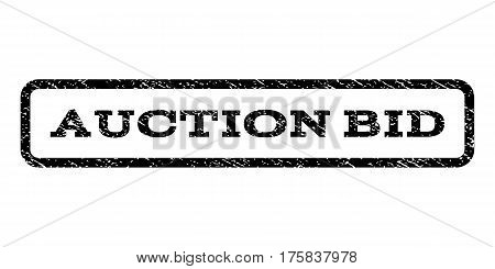 Auction Bid watermark stamp. Text tag inside rounded rectangle frame with grunge design style. Rubber seal stamp with dirty texture. Vector black ink imprint on a white background.