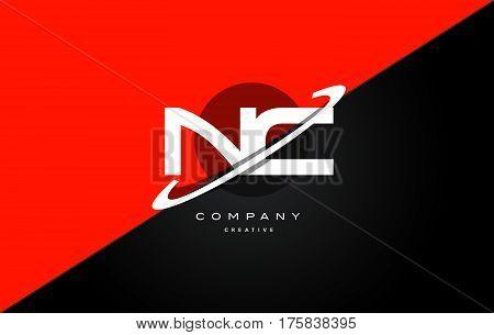 Nc N C  Red Black Technology Alphabet Company Letter Logo Icon
