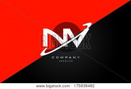 Nv N V  Red Black Technology Alphabet Company Letter Logo Icon