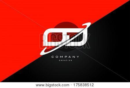 Od O D  Red Black Technology Alphabet Company Letter Logo Icon