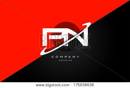 Pn P N  Red Black Technology Alphabet Company Letter Logo Icon