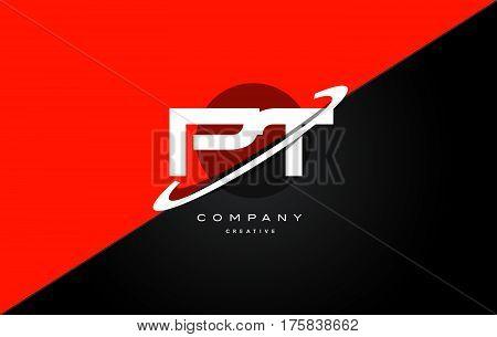 Pt P T  Red Black Technology Alphabet Company Letter Logo Icon