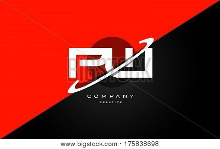 Pw P W  Red Black Technology Alphabet Company Letter Logo Icon