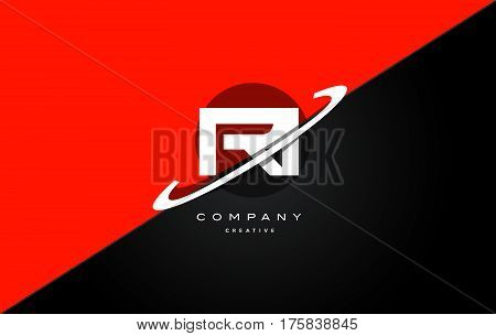 Ri R I  Red Black Technology Alphabet Company Letter Logo Icon