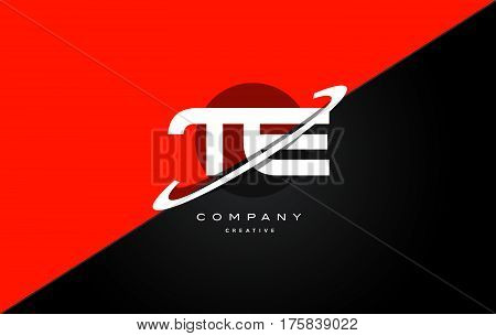 Te T E  Red Black Technology Alphabet Company Letter Logo Icon