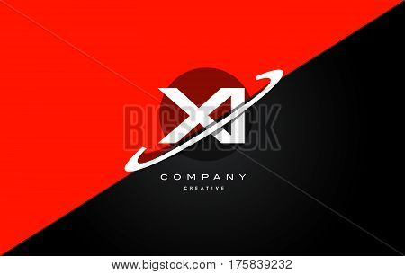 Xi X I  Red Black Technology Alphabet Company Letter Logo Icon