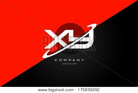 Xy X Y  Red Black Technology Alphabet Company Letter Logo Icon