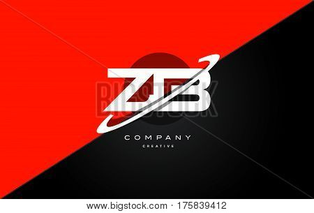 Zb Z B  Red Black Technology Alphabet Company Letter Logo Icon