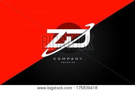 Zd Z D  Red Black Technology Alphabet Company Letter Logo Icon